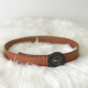 Fossil Leather Bronze Belt Buckle Bling Boho 530